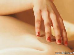 Skinny brunette teasing naked