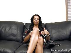 Backroom casting couch with sexy ebony babe ziba