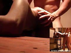 African amateur devours a white dick