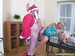 Old santa bangs a naughty blonde teen into heaven