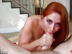 blowjob, cumshot, babe, handjob, gorgeous, jerking, gagging, beauty, pov, deepthroat, face fucking, red head