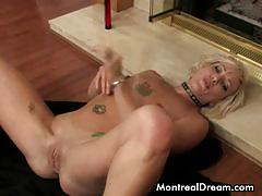 Flirtatious denise lying on the floor, toying