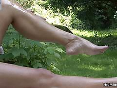 Boyfriend's mom loves toying his girl outdoors