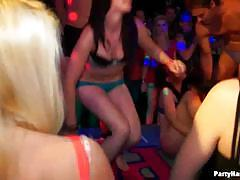 Drunk party girls getting naked and kissing wildly