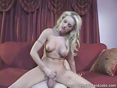 Busty blonde likes to stroke cock and it shows
