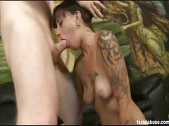 Tattooed kathryn got her mouth and ass fucked deep