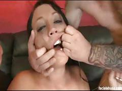 Sexy brunette slut gets banged by two dudes