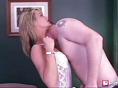 Blonde milf desiree sucks hard cock deeply.