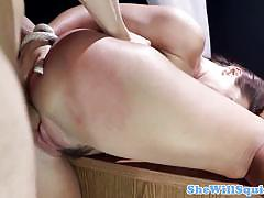 Submissive babe gushing while fucking her master