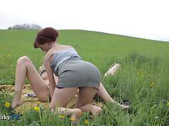 Czech lesbian teens eating pussies outdoors