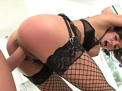 Brunette in fishnets renae cruz gets banged hard