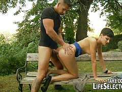 Horny babes anal fucking with the guard watching