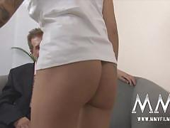 Tattooed redhead gets banged by an older dude