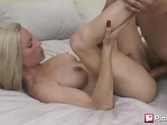 Desperate milf gets her shaved pussy fucked hard