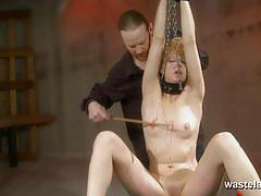 Wasteland bondage ginger babe slave punishment.
