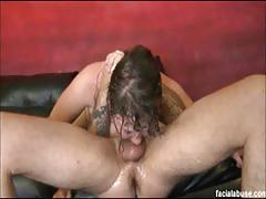 Fucking cock gagging busty brunette