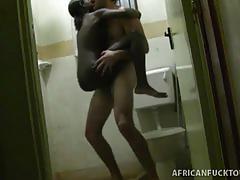 Tiny has kinky interracial sex on toilet