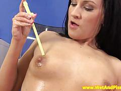 Horny brunette pee and pussy tease