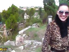 Sweet young amateur couple enjoys outdoor sex.