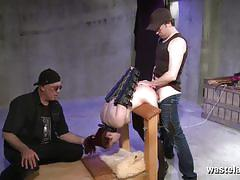 Babe in shackles gets spanked and fucked hard.