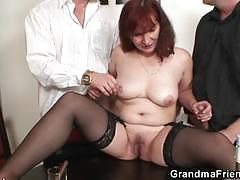 Red head mom in threeway strip poker