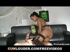 Fuckenstein bangs a pretty ebony and cum on her