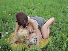 Czech lesbians licking pussy in a wide garden