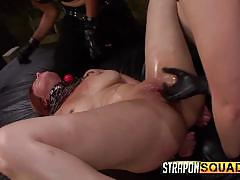 Pain sub slut alessa snow endures lesbian domination with kimber woods & is...