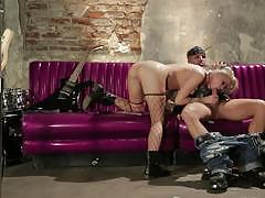 Hot blonde in black fishnets gets banged very hard