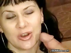 Amateur slut with trimmed cunt blows cock