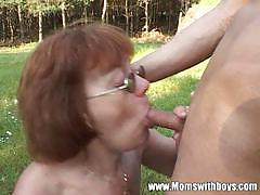 Cougar invite her younger partner to fuck outside