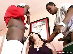 Redhead nikki hunter hot blowjob on two black guys