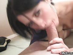 Cream filled fucking with hot brunette