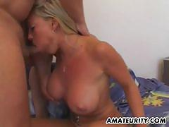 Blonde girlfriend with huge melons gets pounded