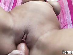 Busty carmella is fucked by four massive cocks.