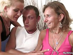 Hot chick watching her boyfriend fucking a milf