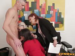 Stephanie blows and her gals share a hard cock
