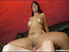 Ebony slut gets her mouth and cunt blasted