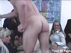 Bisexual fucking with six babes and their boss