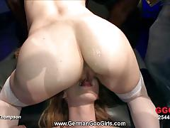 Blonde and brunette sluts get gangbanged very hard