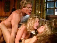 Vintage lesbian blondes share a hard rod of meat