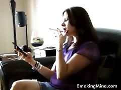 Hot milf mina looks so hot smoking in the morning