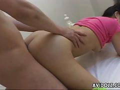 Asian bimbo with small boobs gets fucked proper