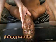 Nasty ebony flo goes gagging by face fucking