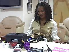 Ebony sucks cock for job in interview
