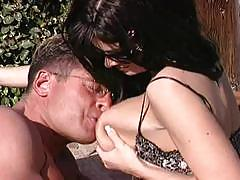 Hot busty brunette milf gets nailed outside