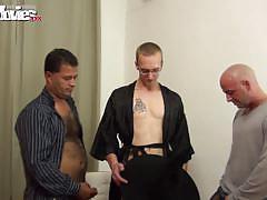 Blonde slut banged hard by three horny big cocks.