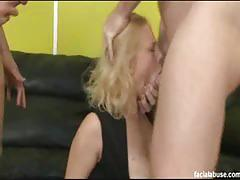 Busty clayra beau gets facial abused by two cocks.