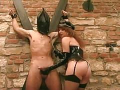 Nice ass mistress punishes with her whip and gets fucked in return