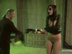 Brunette slave temptress gets masturbated